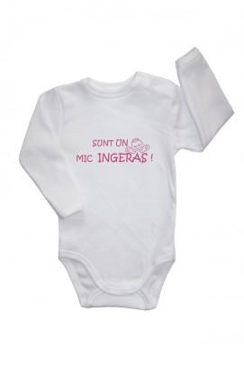 Articole pentru copii si bebelusi, Body cu capse pe umar si slogan bebe - Alb
