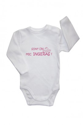 Body bebe, Body cu capse pe umar si slogan bebe - Alb