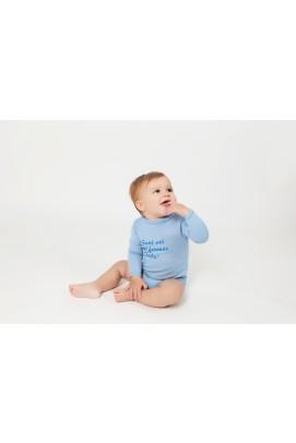 Body bebe, Body cu capse pe umar si slogan bebe - Albastru